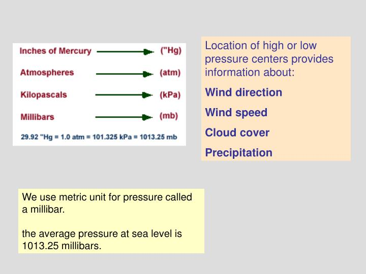 Location of high or low pressure centers provides information about: