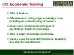 i o academic training