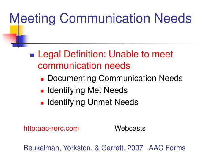 Meeting communication needs