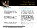 animal research anecdotes and facts