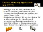 critical thinking application pg 70 71
