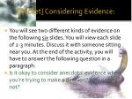 packet considering evidence