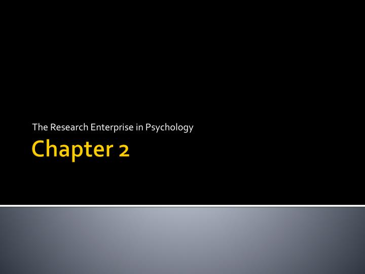 the research enterprise in psychology n.