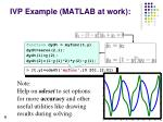 ivp example matlab at work