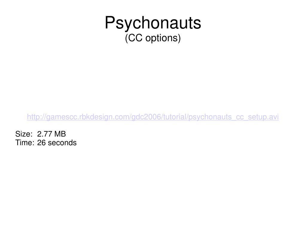 http://gamescc.rbkdesign.com/gdc2006/tutorial/psychonauts_cc_setup.avi