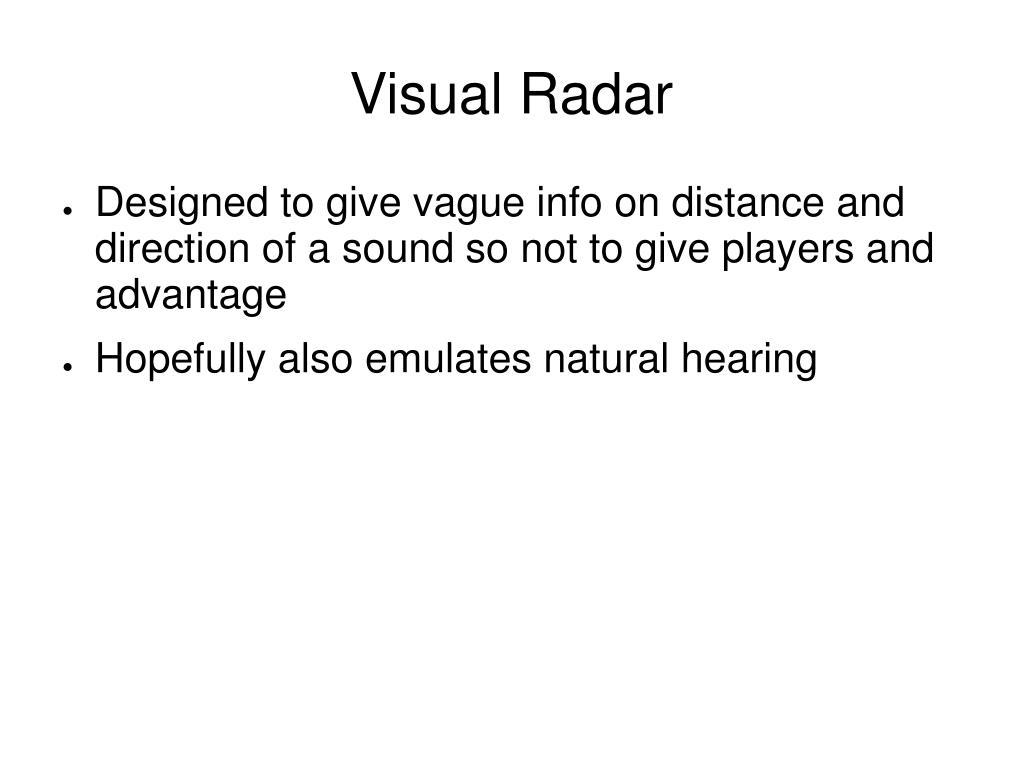 Visual Radar