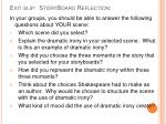 exit slip storyboard reflection