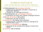 posibles enfoques para seminarios o grupos de trabajo