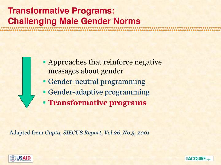 Transformative programs challenging male gender norms