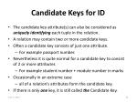 candidate keys for id