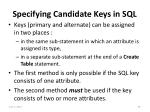 specifying candidate keys in sql
