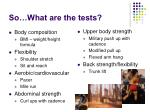 so what are the tests