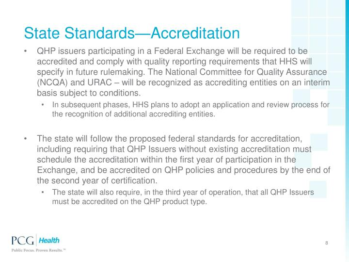 regulatory and accreditation standards for qi implementation essay Iso standards assess compliance with international standards for quality systems, rather than hospital functions per se peer review is generally supported by clinical professions as a means of self-regulation and improvement, and does not aim to measure the overall performance of hospitals.
