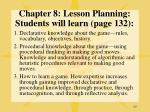 chapter 8 lesson planning students will learn page 132