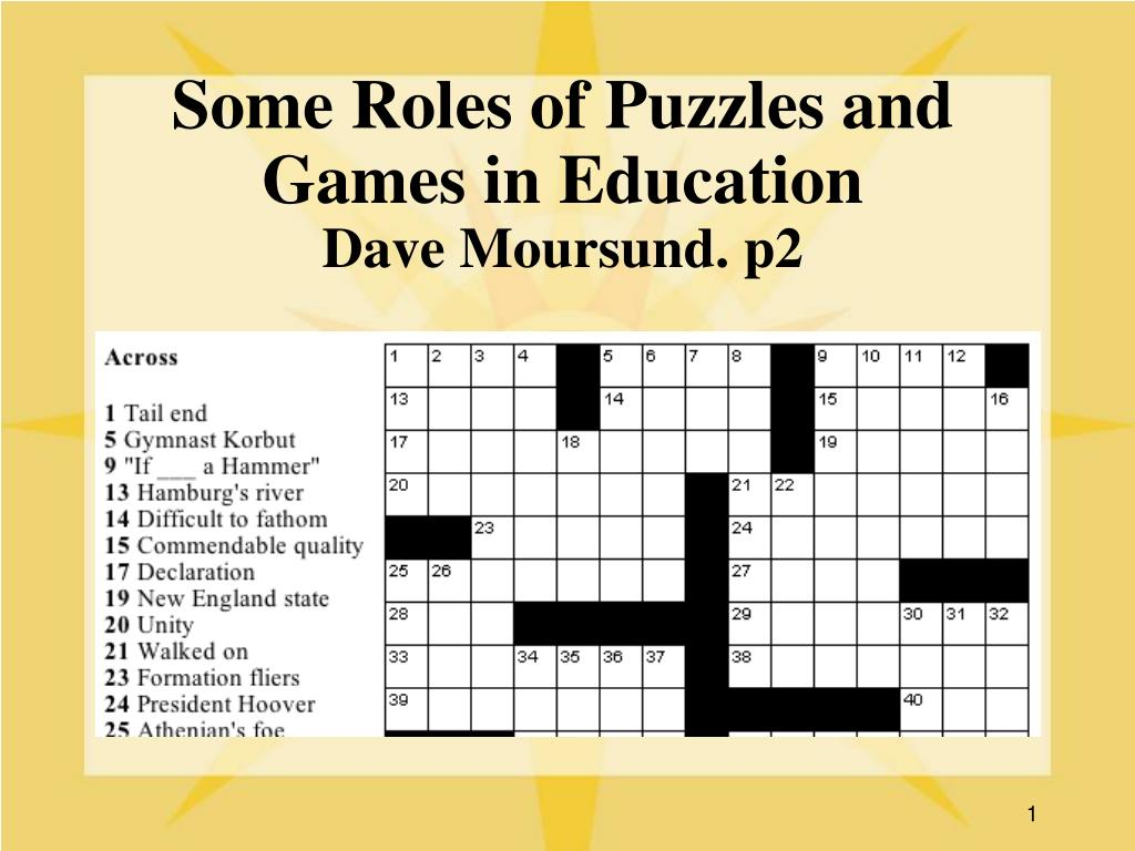 some roles of puzzles and games in education dave moursund p2 l.