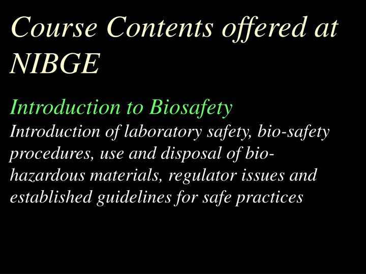 Course Contents offered at NIBGE