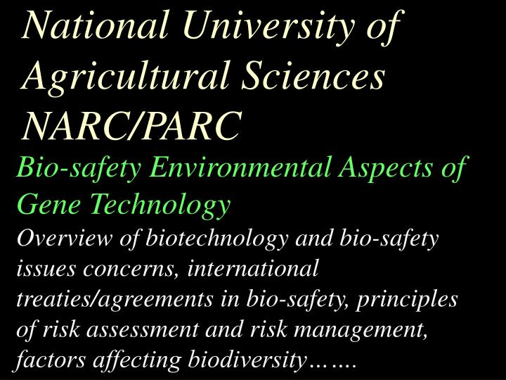 National University of Agricultural Sciences NARC/PARC