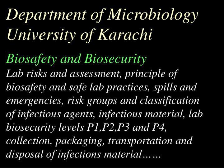 Department of Microbiology University of Karachi