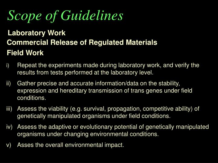 Scope of Guidelines