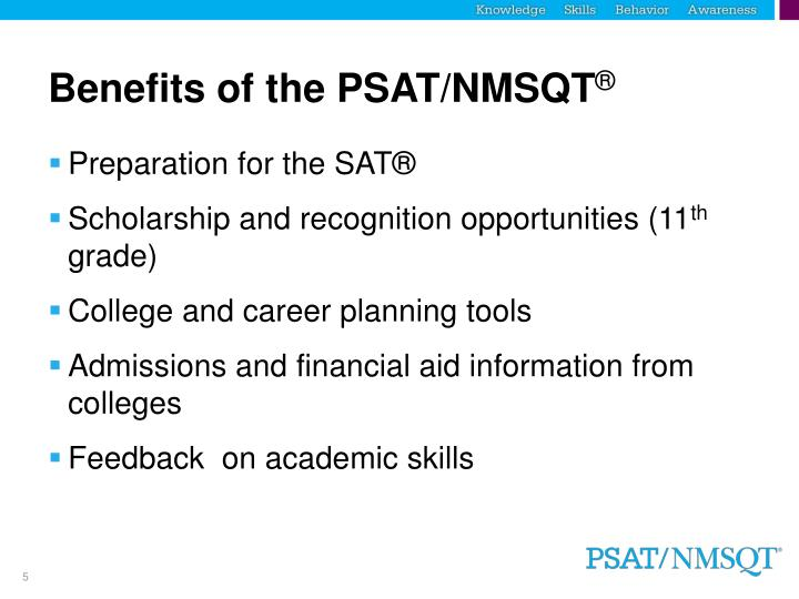 Benefits of the PSAT/NMSQT