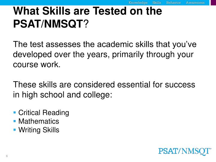 What Skills are Tested on the PSAT/NMSQT