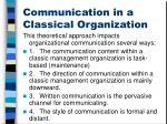 communication in a classical organization