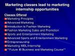 marketing classes lead to marketing internship opportunities