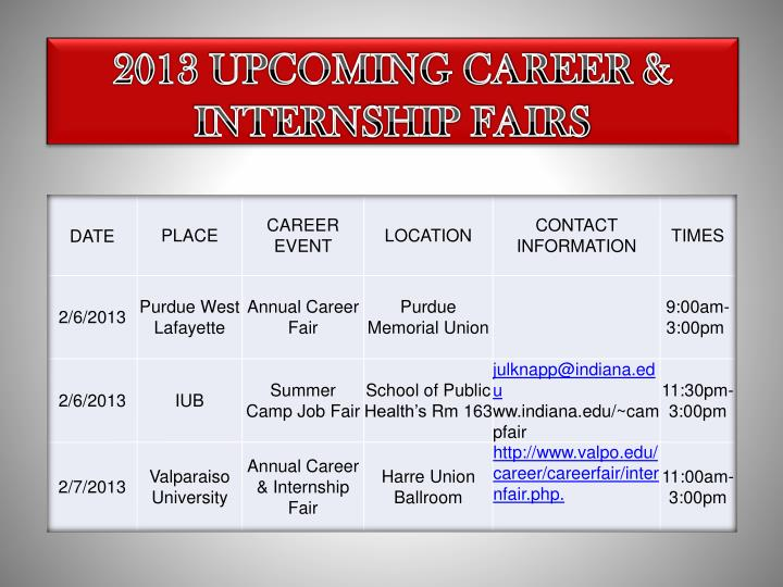 2013 upcoming career internship fairs n.