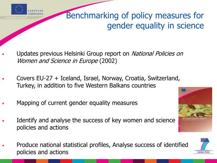 Benchmarking of policy measures for gender equality in science