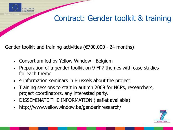 Contract: Gender toolkit & training