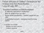 fathers influence on children s development the evidence from two parent families lewis lamb 2003