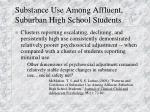 substance use among affluent suburban high school students