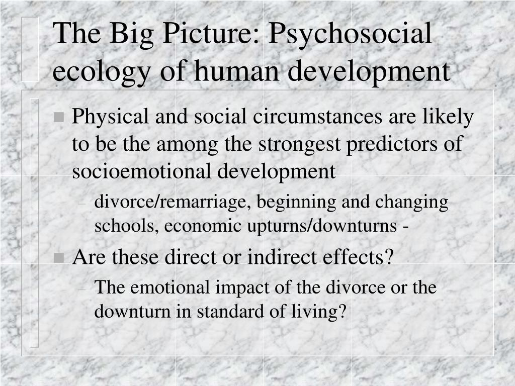 The Big Picture: Psychosocial ecology of human development