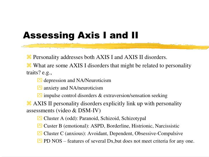 Assessing Axis I and II