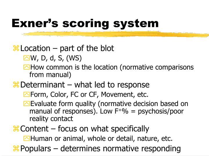 Exner's scoring system