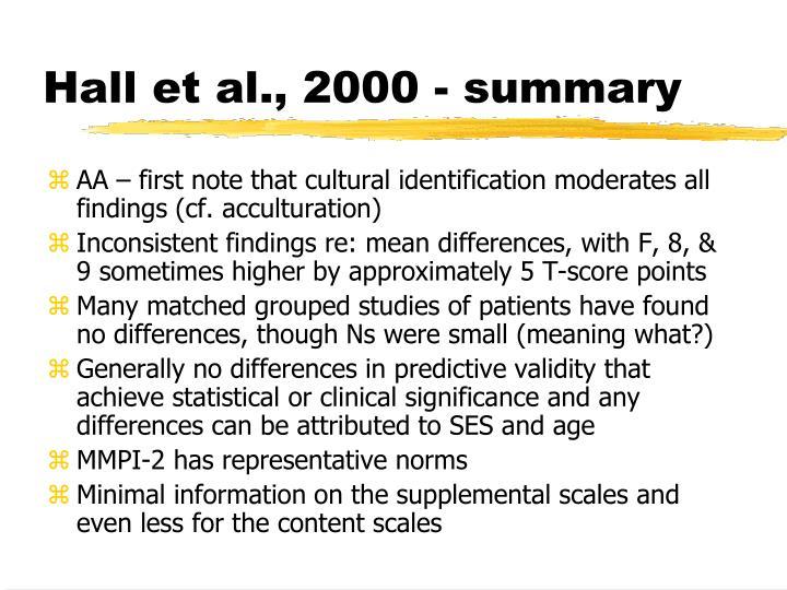 Hall et al., 2000 - summary