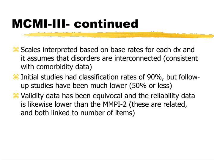 MCMI-III- continued