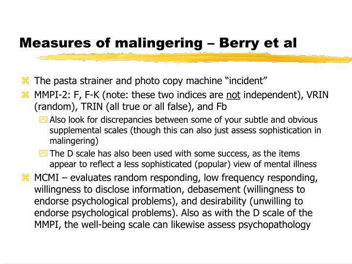 Measures of malingering – Berry et al