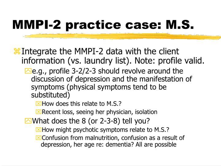 MMPI-2 practice case: M.S.