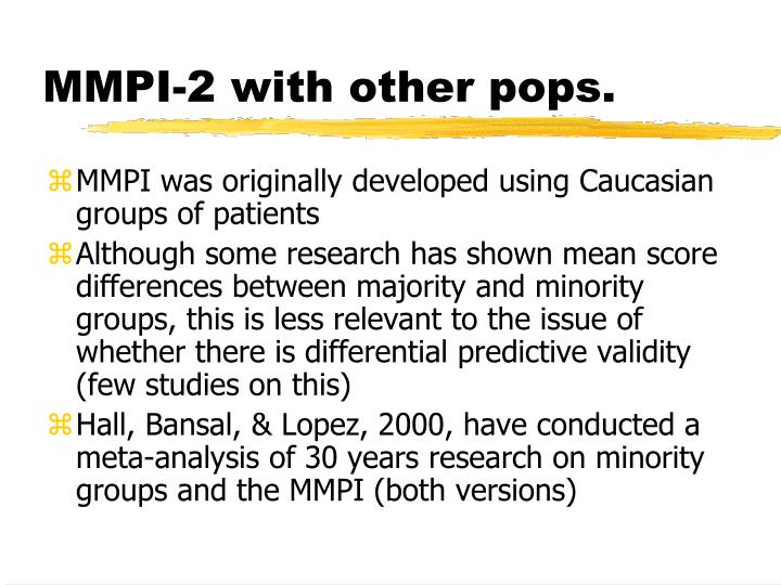 MMPI-2 with other pops.