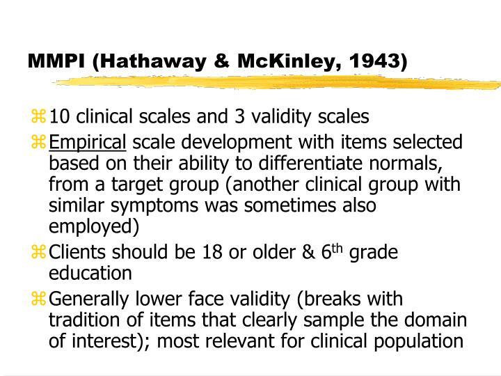 MMPI (Hathaway & McKinley, 1943)