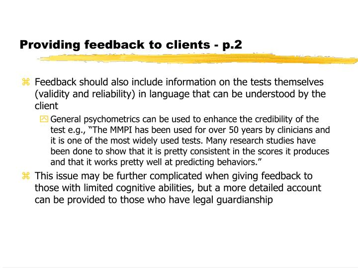 Providing feedback to clients - p.2