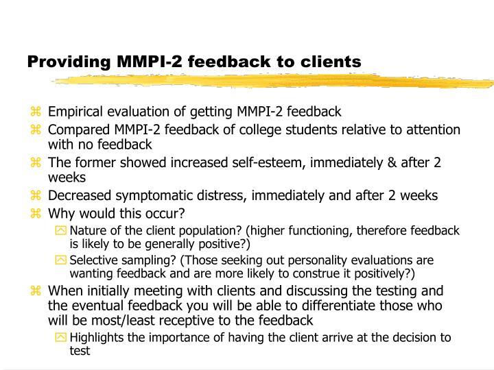 Providing MMPI-2 feedback to clients