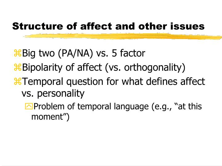 Structure of affect and other issues