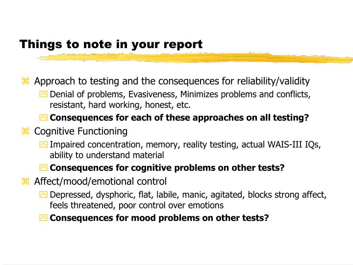 Things to note in your report