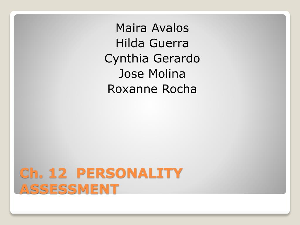 ch 12 personality assessment