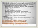 prominent structured personality inventories