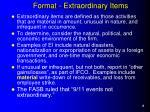 format extraordinary items