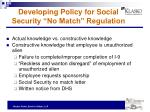developing policy for social security no match regulation