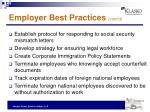 employer best practices cont d